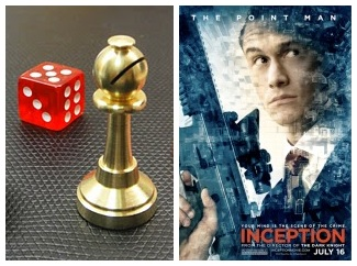 IMAGE- 'Inception' totems: red die and chess bishop, with Inception 'Point Man' poster