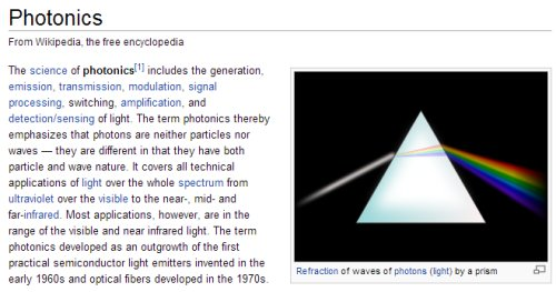IMAGE- Wikipedia article on Photonics with prism and spectrum