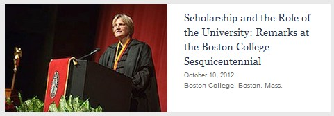 IMAGE- Harvard President Faust at Boston College, a Jesuit institution, on Oct. 10, 2012