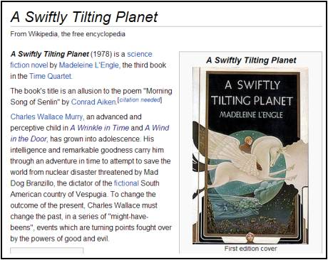 IMAGE- Wikipedia: Citation needed for Aiken as source of 'Swiftly Tilting Planet' title
