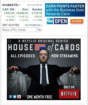 IMAGE- NY Times market quotes, American Express Gold Card ad, Kevin Spacey in 'House of Cards' ad