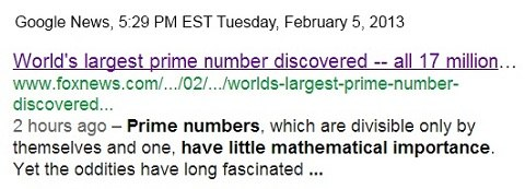 IMAGE- News item: 'Prime numbers... have little mathematical importance.'