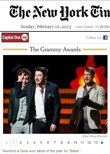 IMAGE- Mumford & Sons wins Album of Year for 'Babel'