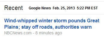IMAGE- Winter storm; stay off roads, authorities say.