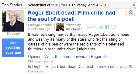 IMAGE- Roger Ebert 'had the soul of a poet'- Chicago Tribune