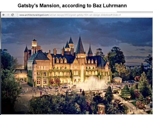 IMAGE- Baz Luhrmann's version of Gatsby's mansion