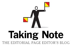 IMAGE- Semaphore-like logo of NY Times editorial editor's blog