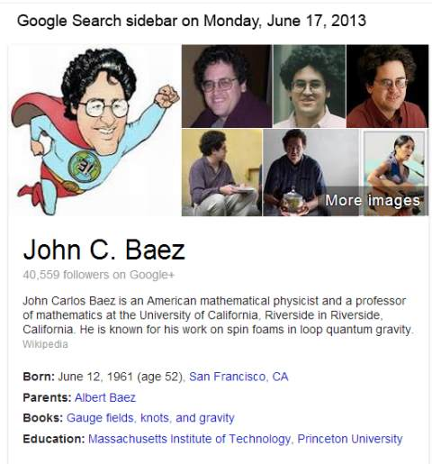 IMAGE- Google sidebar: John Baez as superhero