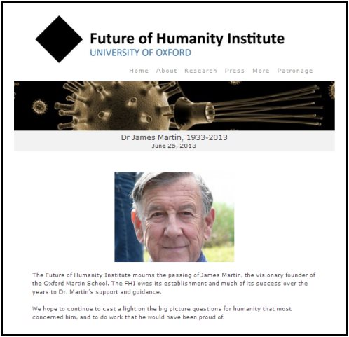 IMAGE- Black diamond logo of the Future of Humanity Institute, with obit for the institute's founder