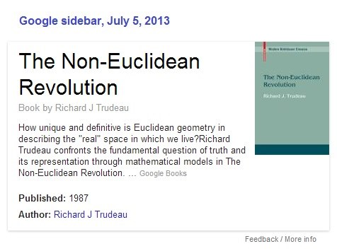 Google sidebar for Richard J. Trudeau's 'The Non-Euclidean Revolution'