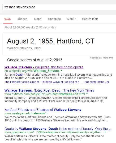 IMAGE- Google search on 'Wallace Stevens died'
