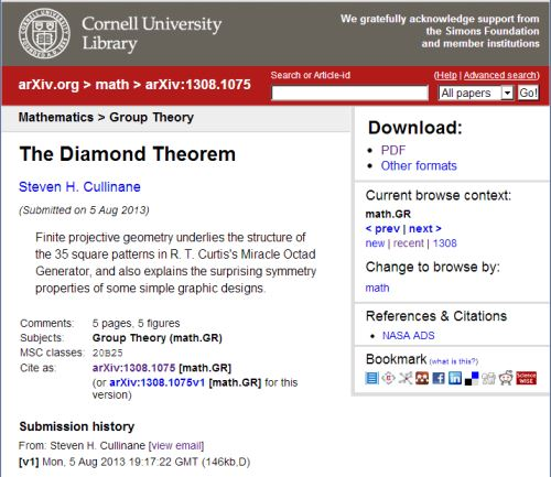 IMAGE- The diamond theorem in the arXiv
