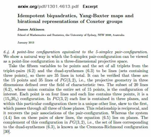 IMAGE- James Atkinson, Jan. 2013 preprint on Yang-Baxter maps mentioning finite geometry