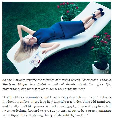 IMAGE- Marissa Mayer on numbers in Vogue magazine