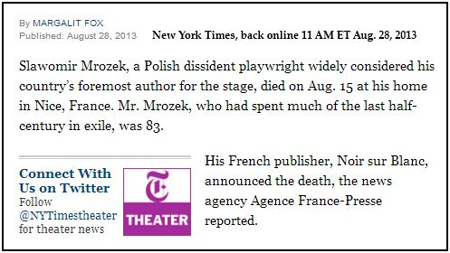 IMAGE- Playwright's death announced by his publisher, Noir sur Blanc