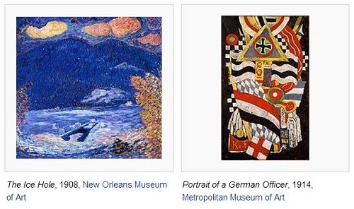 IMAGE- Two pictures by Marsden Hartley- 'The Ice Hole' and 'Portrait of a German Officer'
