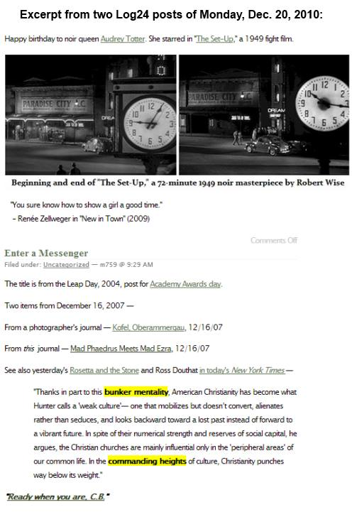 IMAGE- Excerpt from two Log24 posts of Dec. 20, 2010 - on 'The Set-Up,' and 'Enter a Messenger'
