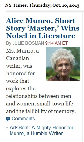 IMAGE- Alice Munro Wins Nobel Prize in Literature