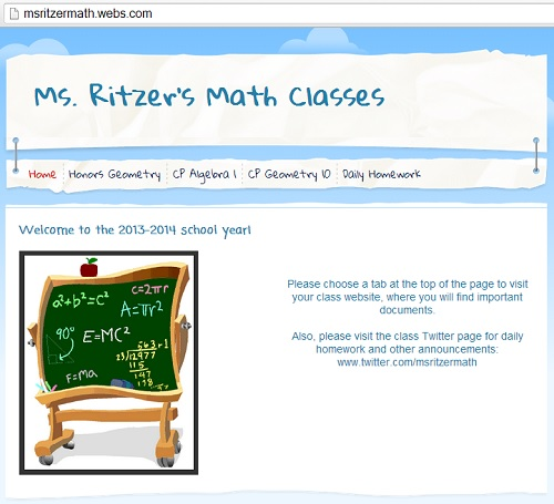 IMAGE- Web page of math teacher murdered on Oct. 22, 2013