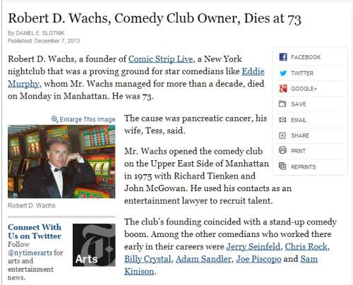 IMAGE- 'Comedy Club Owner Dies at 73'