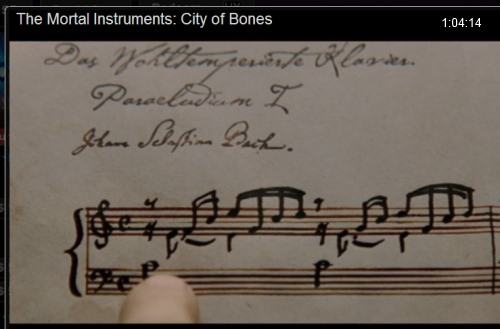 IMAGE- Music by Bach in 'The Mortal Instruments: City of Bones' (at 1:04:14)