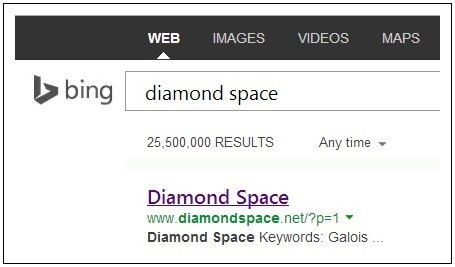 IMAGE- Top search result on Bing for 'diamond space' on Dec. 18, 2013