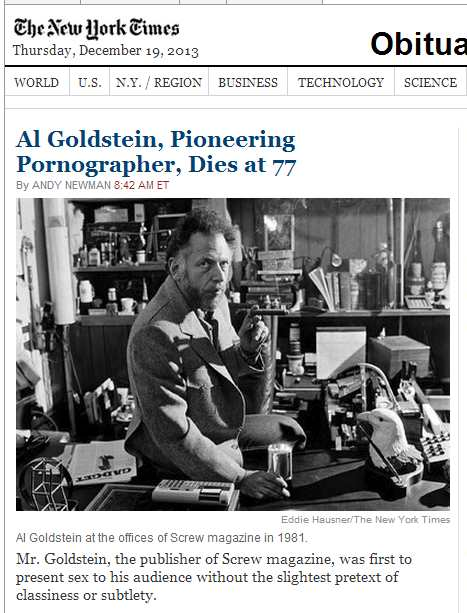 IMAGE- NY Times lead obituary, Thursday morning, Dec. 19, 2013, with phrase 'without the slightest pretext'