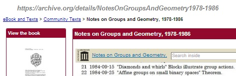 IMAGE- Internet Archive, 'Notes on Groups and Geometry, 1978-1986'