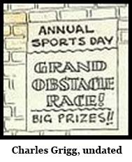 IMAGE- Chrles Grigg, undated Korky the Cat 'Grand Obstacle Race' drawing