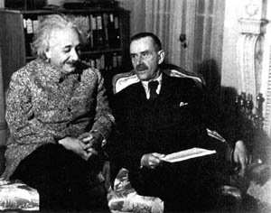 Einstein and Thomas Mann (author of 'The Magic Mountain') at Princeton