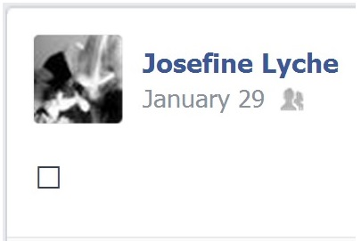 IMAGE- Josefine Lyche, Facebook post with the blank-box symbol for an unidentified character