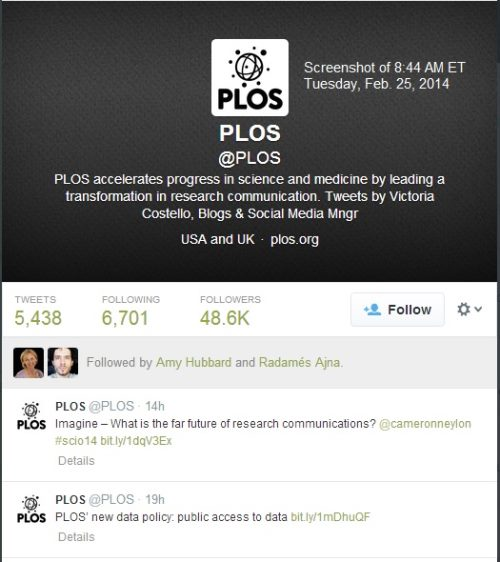 IMAGE- PLOS, the Public Library of Science, on Twitter, followed by (among others) Amy Hubbard and Radamés Ajna