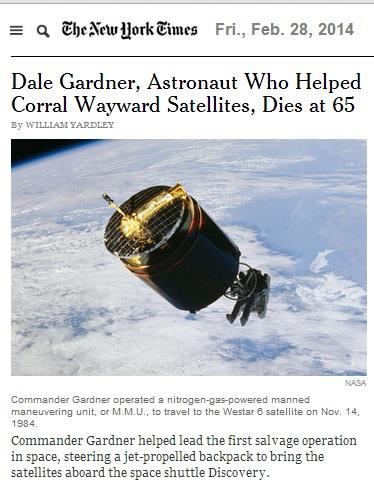 Astronaut Dale Gardner, shown retrieving a satellite, reportedly died at 65.