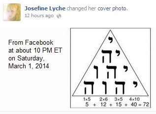 IMAGE- Josefine Lyche changes her Facebook cover photo to a form of the Tetragrammaton.