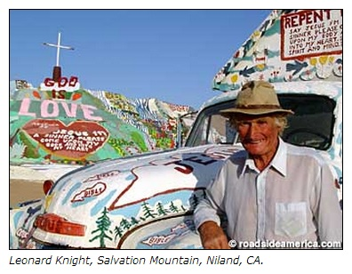 IMAGE- Leonard Knight, Salvation Mountain, Niland, CA