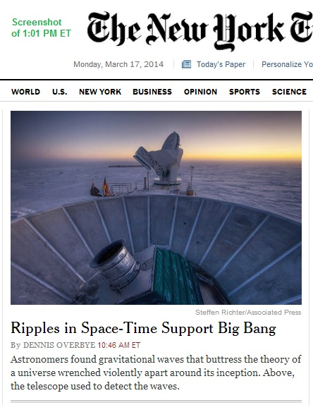 'Ripples in Space-Time Support Big Bang'