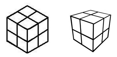 IMAGE - Two eightfold cubes-  axonometric view on left, perspective view on right