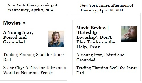 IMAGE- Chloe Grace Moretz in The New York Times