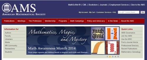 AMS on 'mathematics, magic, and mystery,' April 2014