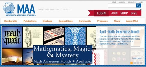MAA on 'mathematics, magic, and mystery,' April 2014