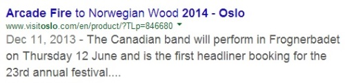 IMAGE- Arcade Fire to headline the 2014 Oslo 'Norwegian Wood' festival at Frognerparken