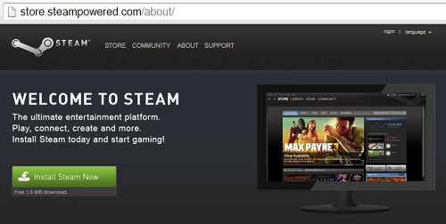 IMAGE- Screenshot of 'store.steampowered.com/about/' with image of 'Max Payne 3'