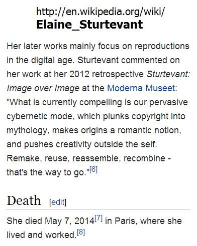 IMAGE- On Elaine Sturtevant, an artist who reportedly died on May 7, 2014