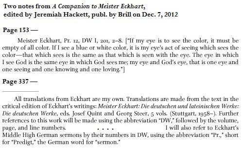 IMAGE- Two footnotes from 'A Companion to Meister Eckhart'