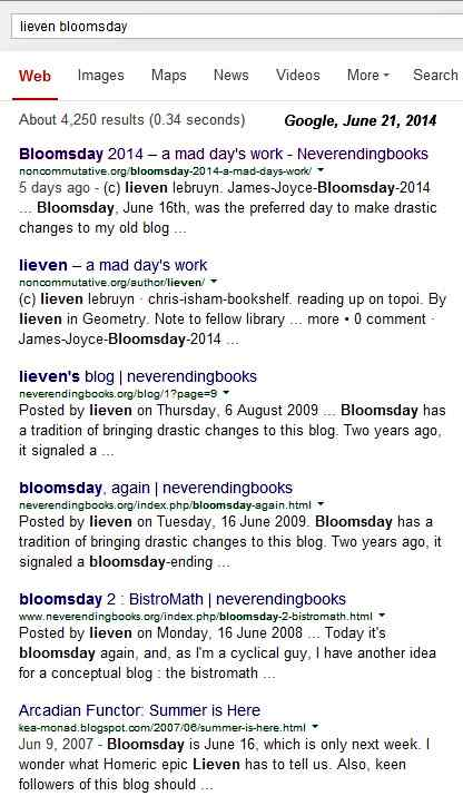 IMAGE- Google search for 'Lieven + Bloomsday'