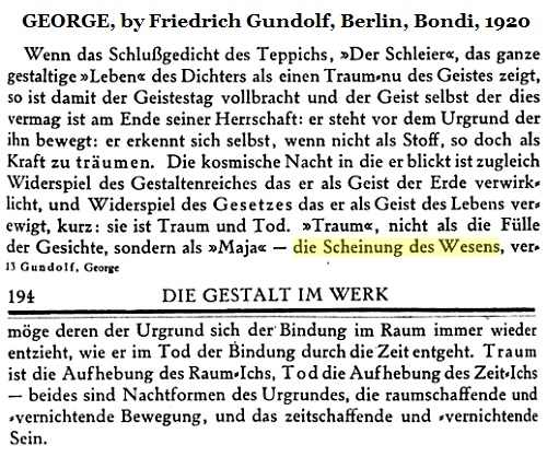 IMAGE- A passage from 'George,' by Friedrich Gundolf (Berlin, 1920)