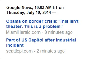 IMAGE- Google News on Obama, theater, and Capitol