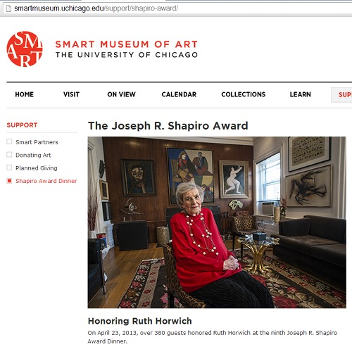 IMAGE- Ruth Horwich, recipient of the 2013 Shapiro award from the Smart Museum
