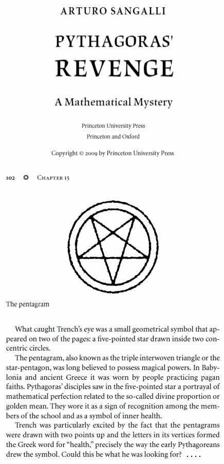 IMAGE- Pentagram from Arturo Sangalli's novel 'Pythagoras' Revenge'