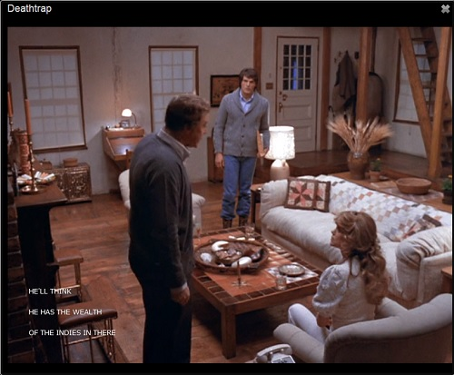 IMAGE- Scene from 'Deathtrap,' with subtitle